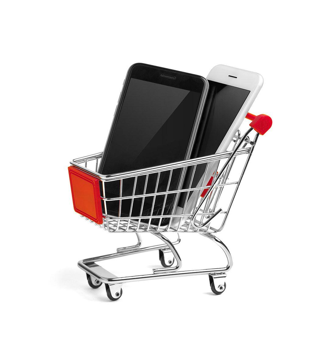 Abbildung Einkaufswagen mit Smartphones